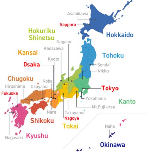 Japan Area Map